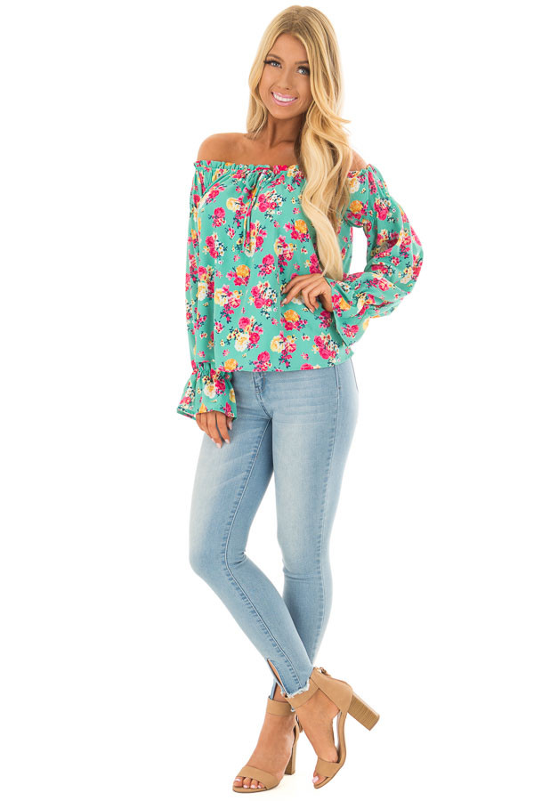 Jade Flower Print Off Shoulder Blouse with Tie Front front full body