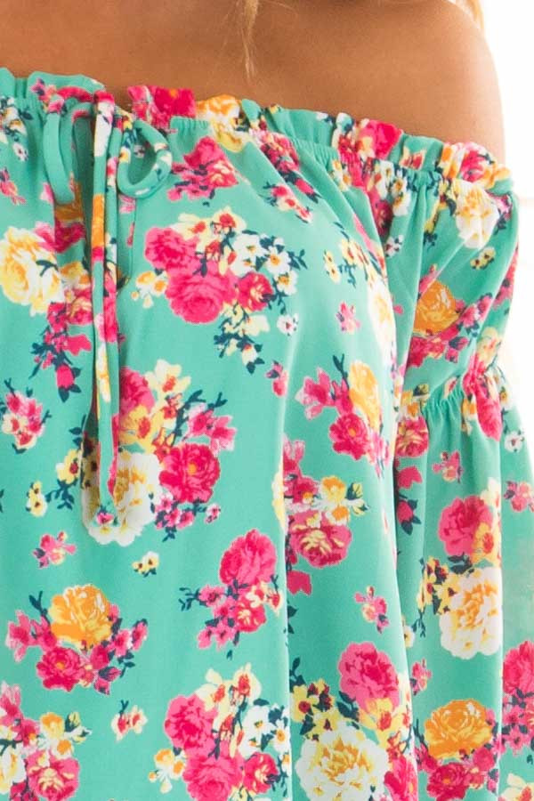 Jade Flower Print Off Shoulder Blouse with Tie Front front detail