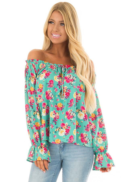 Jade Flower Print Off Shoulder Blouse with Tie Front front closeup