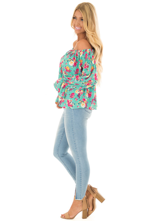 Jade Flower Print Off Shoulder Blouse with Tie Front side full body