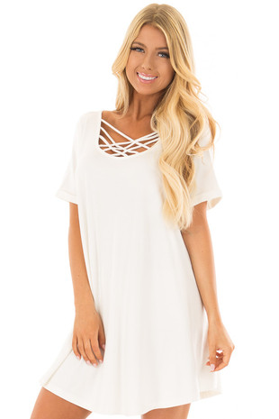 Off White Swing Dress with Criss Cross Neckline front closeup