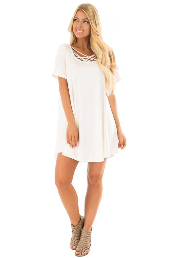 Off White Swing Dress with Criss Cross Neckline front full body