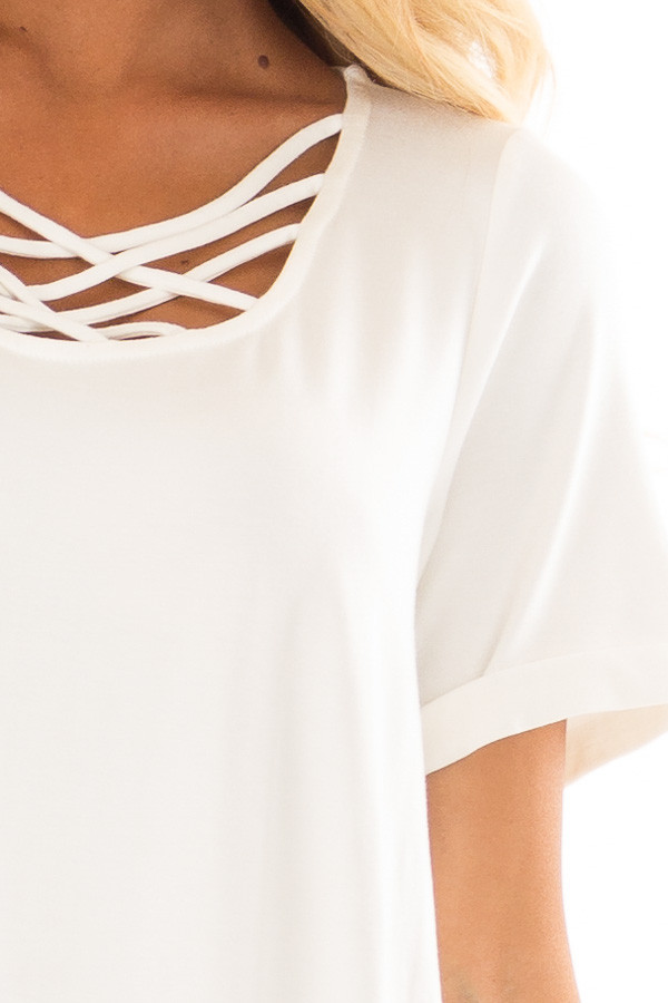 Off White Swing Dress with Criss Cross Neckline front detail