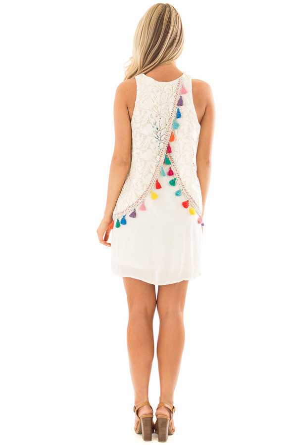 Cream Dress with Lace Contrast and Colorful Tassels back full body