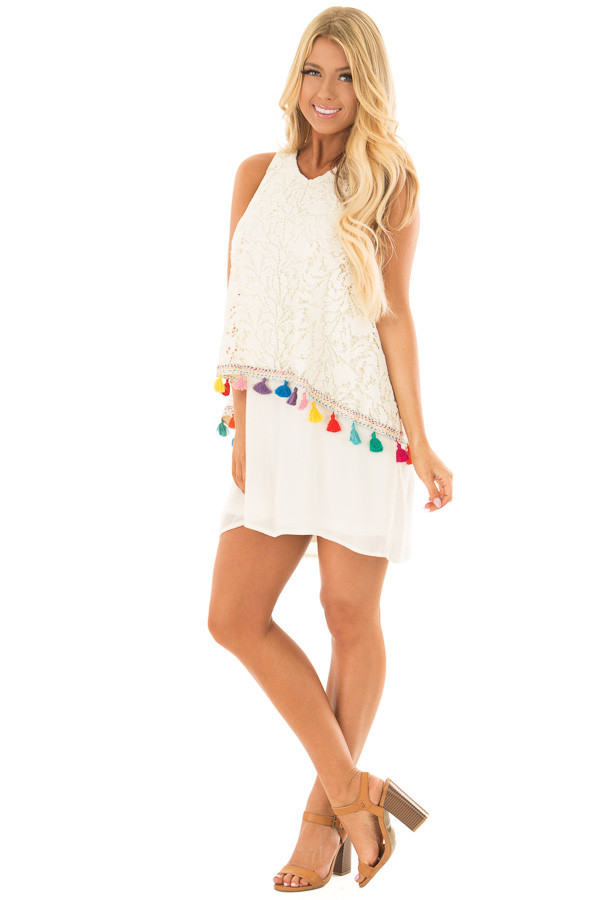 Cream Dress with Lace Contrast and Colorful Tassels front full body