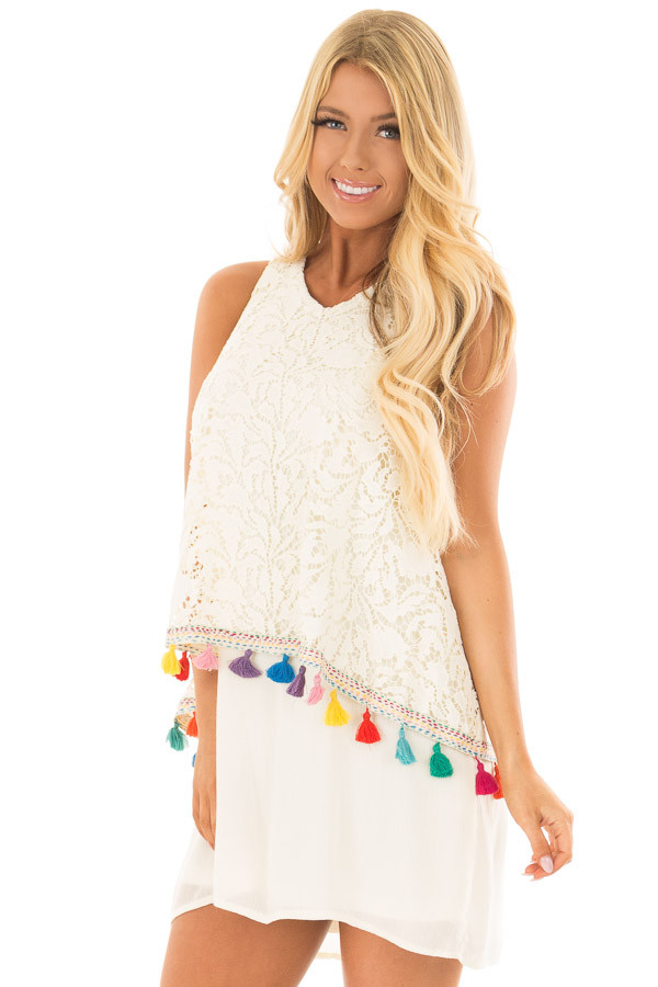 Cream Dress with Lace Contrast and Colorful Tassels front closeup