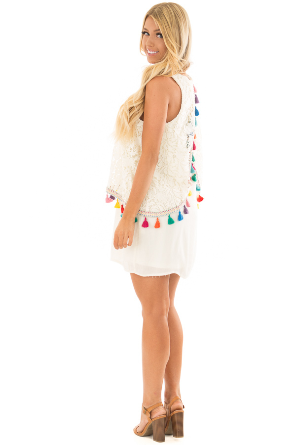 Cream Dress with Lace Contrast and Colorful Tassels side full body