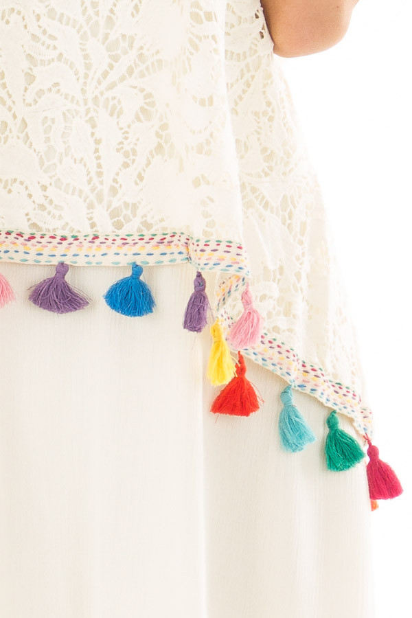 Cream Dress with Lace Contrast and Colorful Tassels front detail