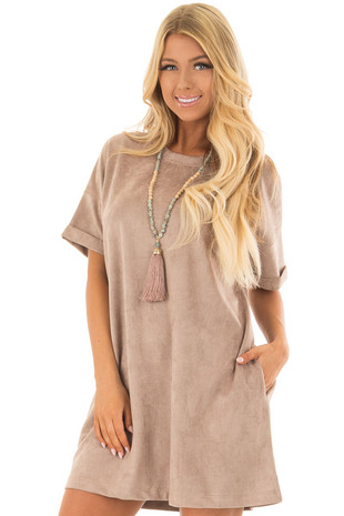 Mocha Faux Suede Dress with Side Pockets front closeup
