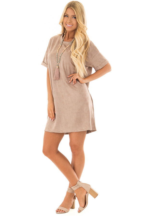 Mocha Faux Suede Dress with Side Pockets front full body