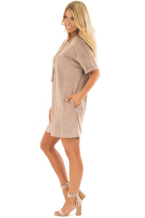 Mocha Faux Suede Dress with Side Pockets side full body