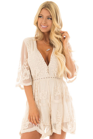 Natural Romper with Floral Lace Details front closeup