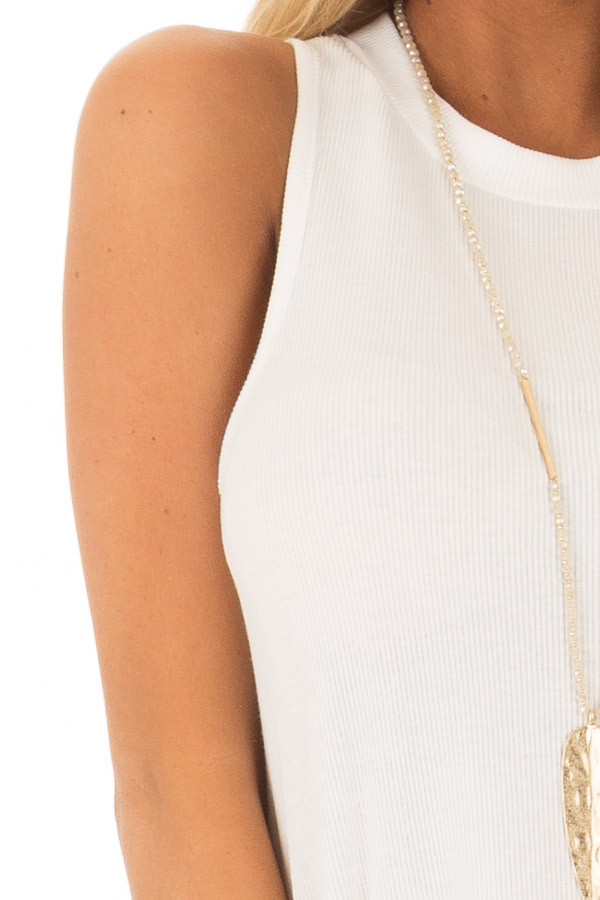 Off White Ribbed Knit Flowy Tank Top front detail