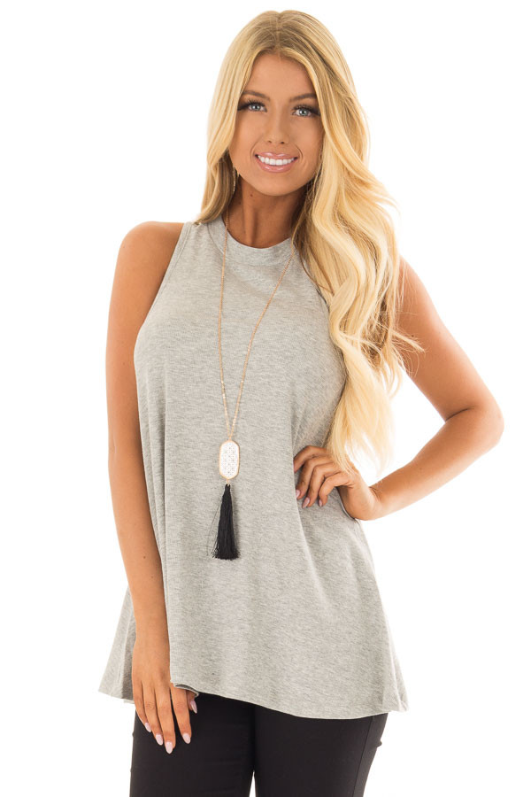 Heather Grey Ribbed Knit Flowy Tank Top front closeup
