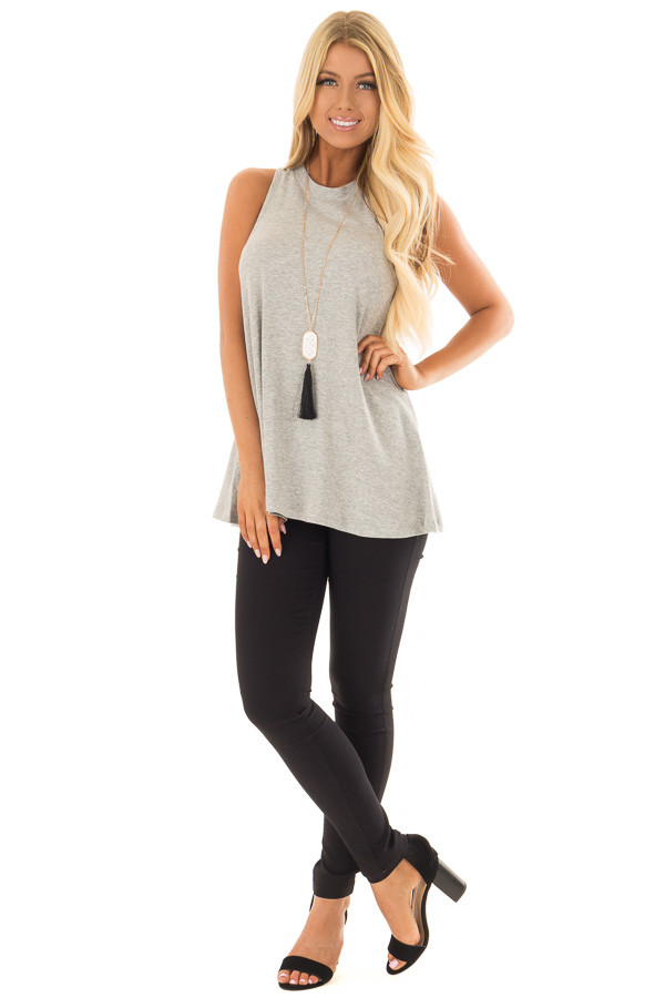 Heather Grey Ribbed Knit Flowy Tank Top front full body