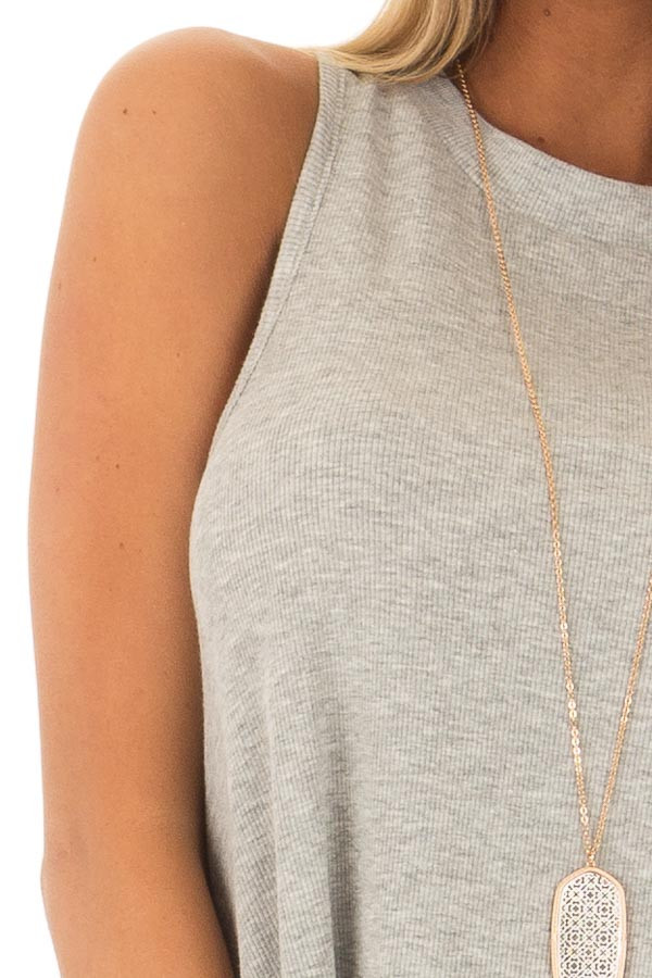 Heather Grey Ribbed Knit Flowy Tank Top front detail