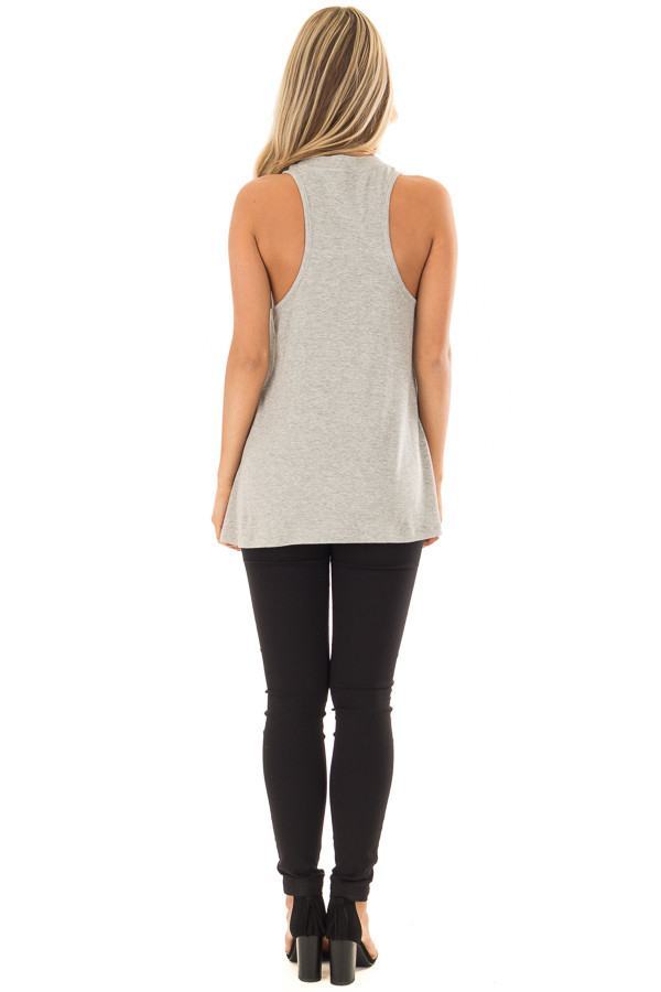 Heather Grey Ribbed Knit Flowy Tank Top back full body