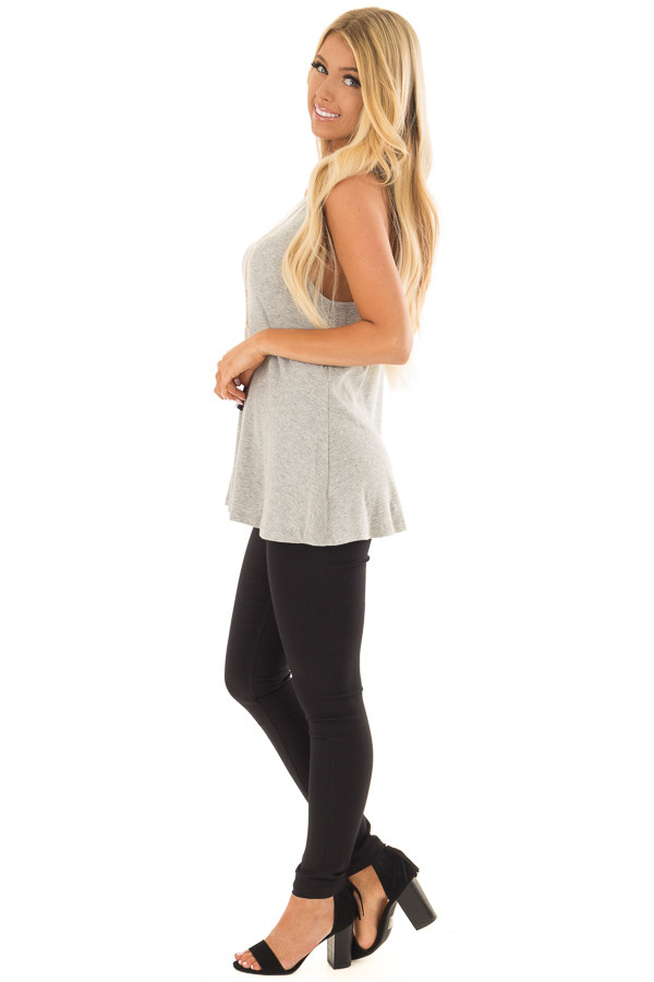 Heather Grey Ribbed Knit Flowy Tank Top side full body