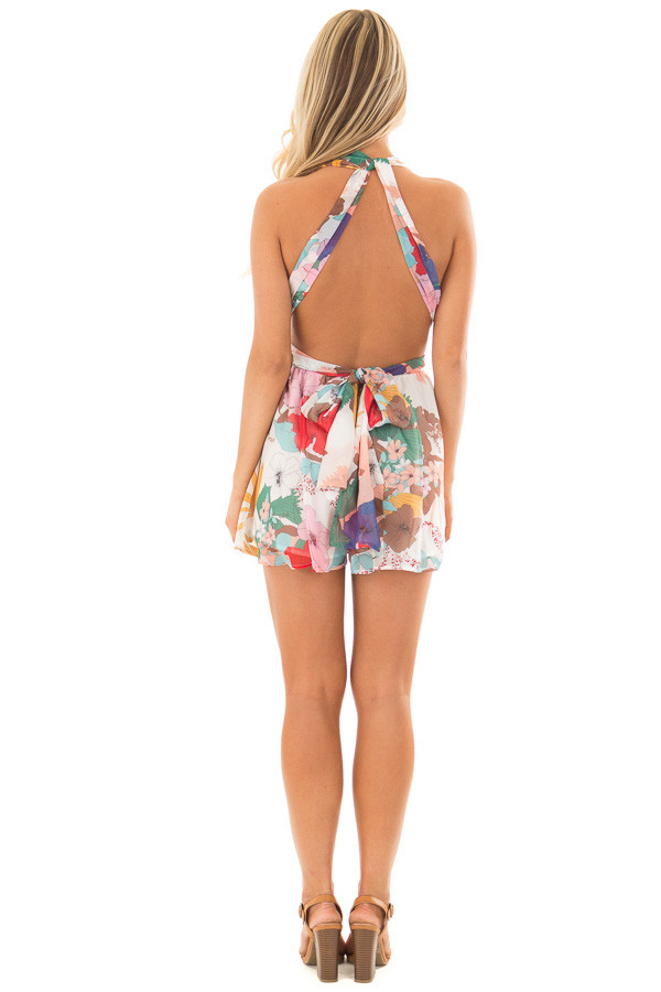 White Tropical Floral Print Romper with Plunging Neckline back full body