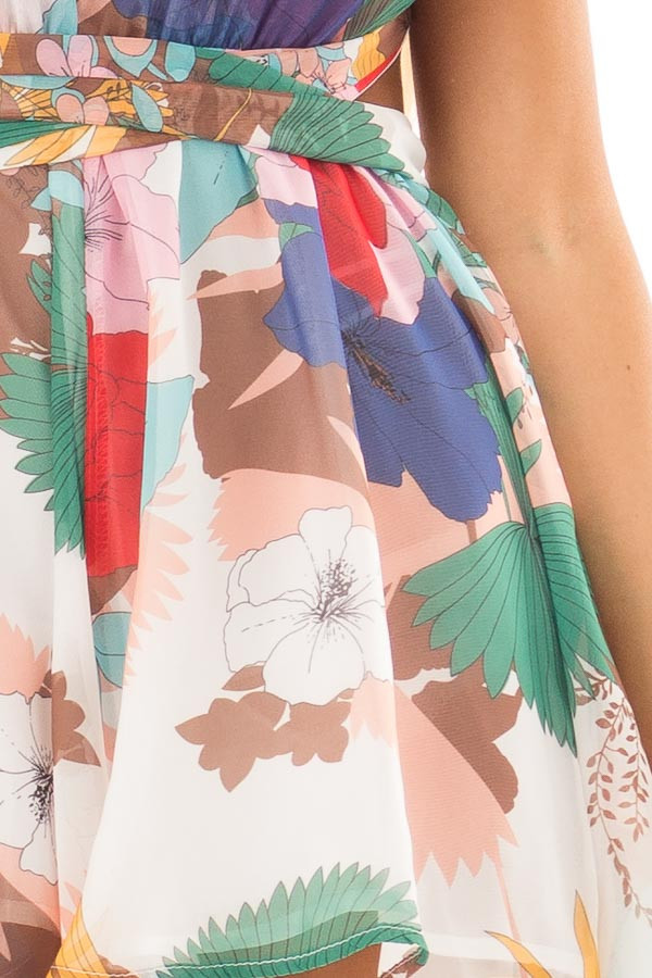 White Tropical Floral Print Romper with Plunging Neckline front detail