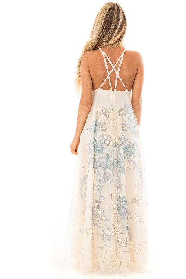 Cream Embroidered Tulle Maxi Dress with Spaghetti Straps back full body