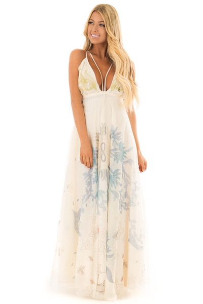 Cream Embroidered Tulle Maxi Dress with Spaghetti Straps front full body