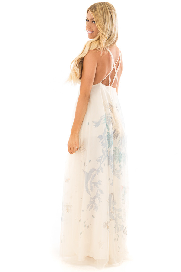 Cream Embroidered Tulle Maxi Dress with Spaghetti Straps side full body