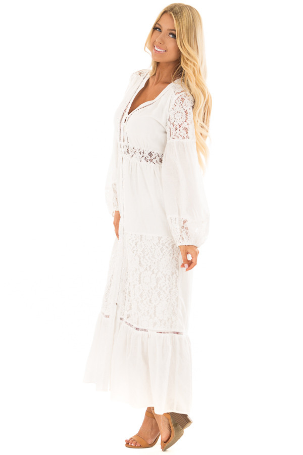 Off White Lace Detail Button Up Maxi Dress side full body