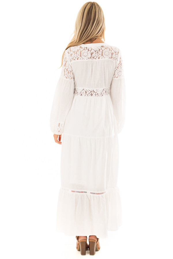 Off White Lace Detail Button Up Maxi Dress back full body