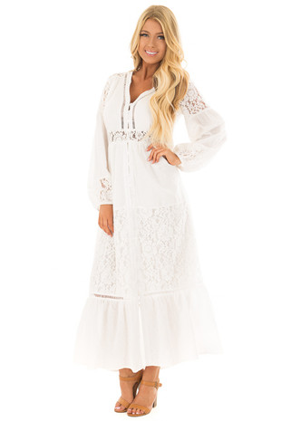 Off White Lace Detail Button Up Maxi Dress front full body