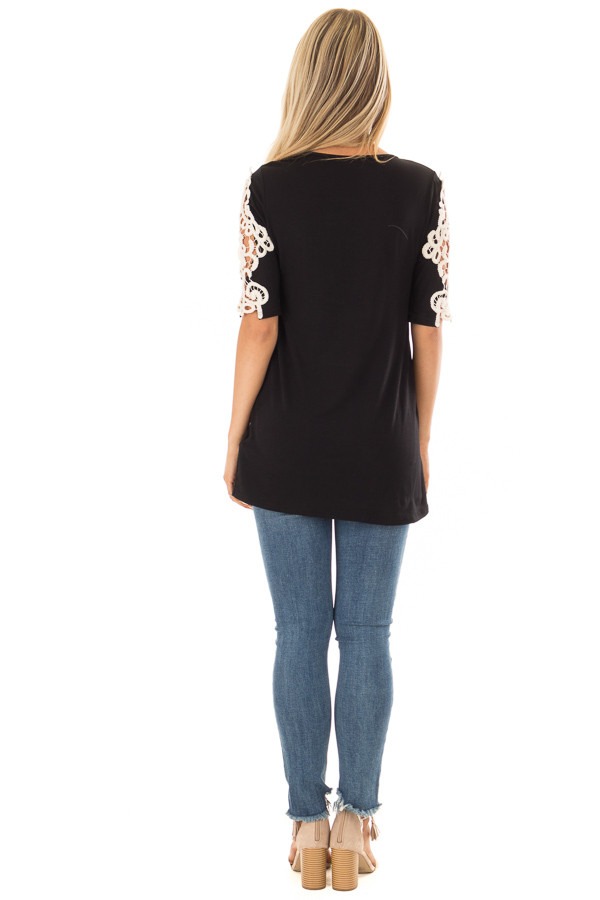 Black Top with Sheer Lace Sleeve Detail back full body
