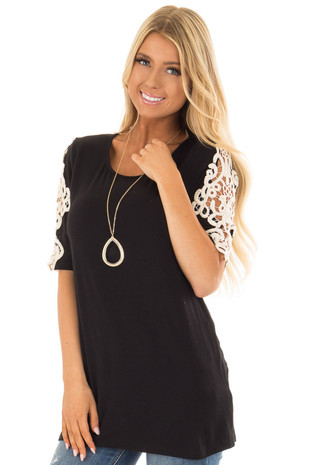 Black Top with Sheer Lace Sleeve Detail front close up
