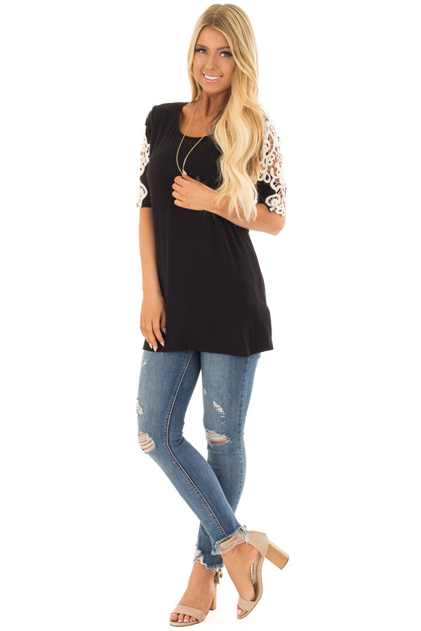 Black Top with Sheer Lace Sleeve Detail front full body
