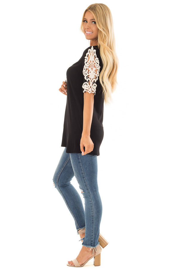 Black Top with Sheer Lace Sleeve Detail side full body