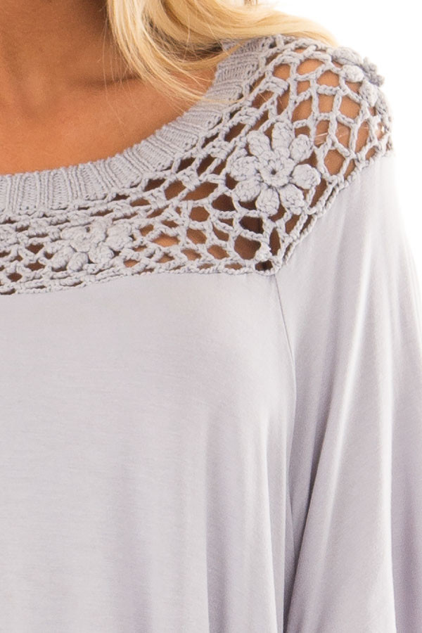 Silver Top with Sheer Crochet Yoke Detail front detail