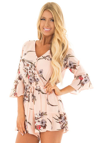 Blush V Neck Floral Romper with Drawstring front close up