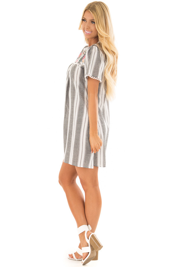 Charcoal Striped Dress with Embroidered Neck Detail side full body