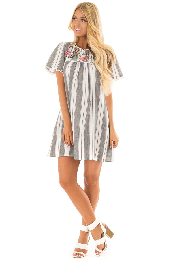 Charcoal Striped Dress with Embroidered Neck Detail front full body