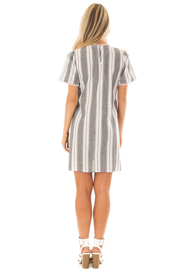 Charcoal Striped Dress with Embroidered Neck Detail back full body