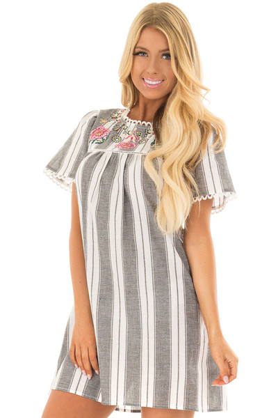 Charcoal Striped Dress with Embroidered Neck Detail front close up