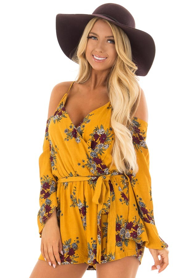 Mustard Cold Shoulder Romper with Floral Print front close up