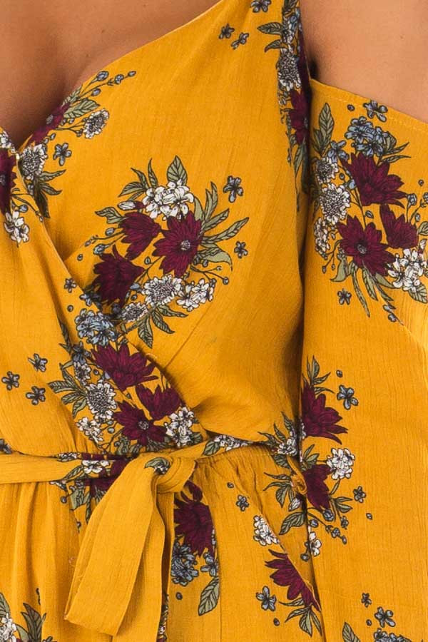 Mustard Cold Shoulder Romper with Floral Print detail