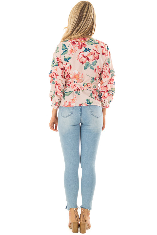 Blush Floral Print Surplice Top with Waist Tie back full body