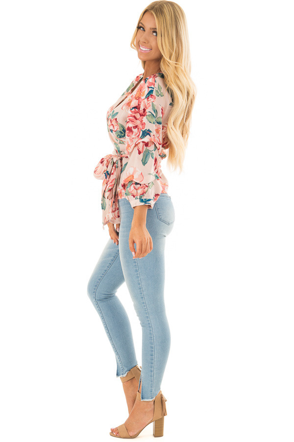 Blush Floral Print Surplice Top with Waist Tie side full body