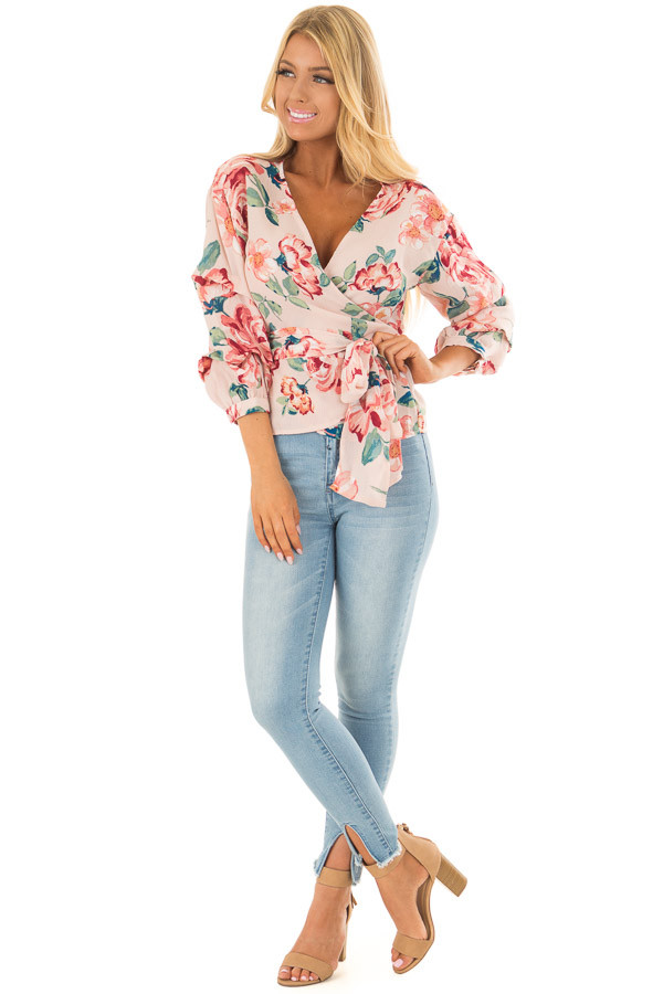 Blush Floral Print Surplice Top with Waist Tie front full body