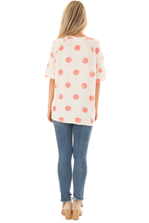 Beige and Coral Polka Dot Top with Front Tie Detail back full body
