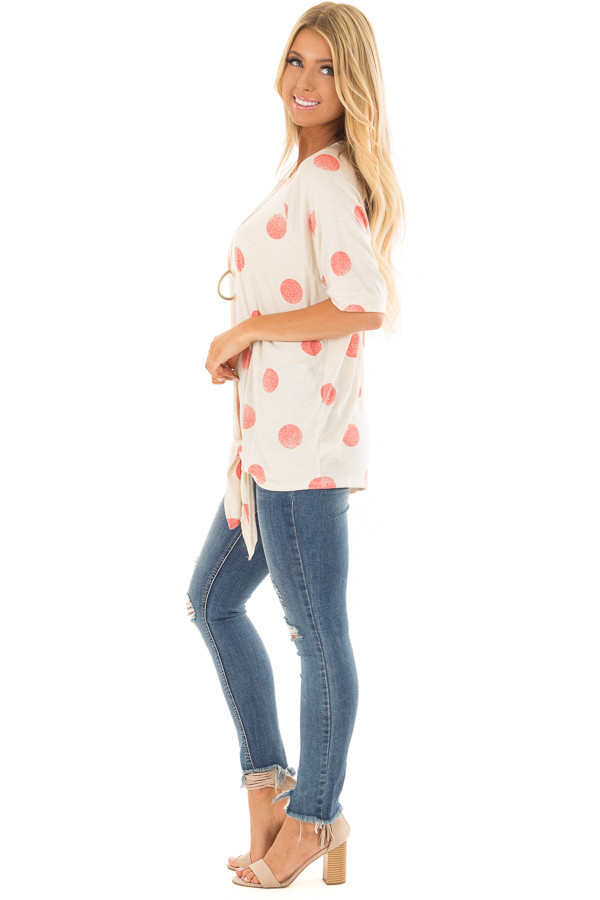 Beige and Coral Polka Dot Top with Front Tie Detail side full body