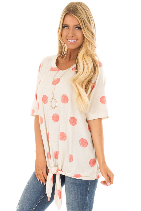 Beige and Coral Polka Dot Top with Front Tie Detail front closeup