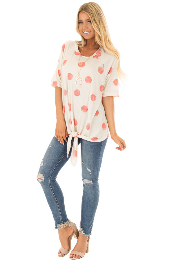 Beige and Coral Polka Dot Top with Front Tie Detail front full body