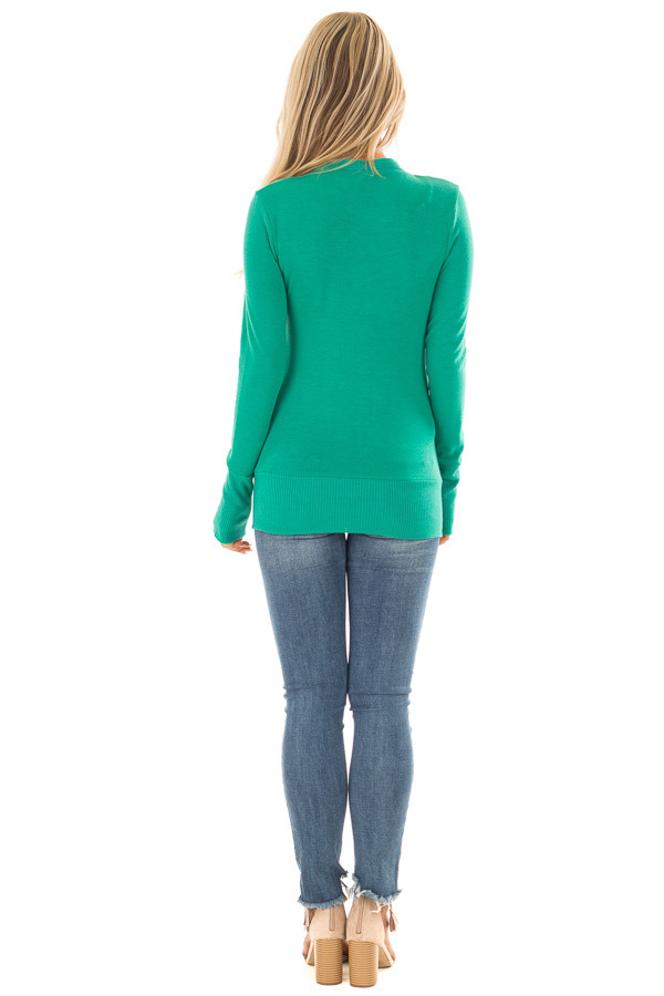 Kelly Green Button Up Sweater Cardigan back full body